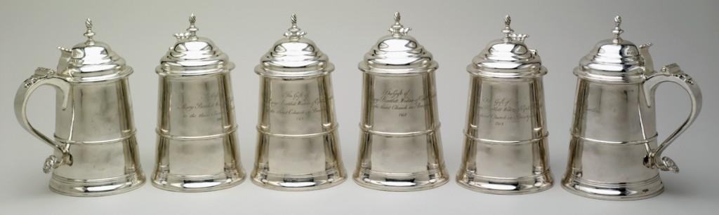 Revere silver tankards, 1957.859.1-.6