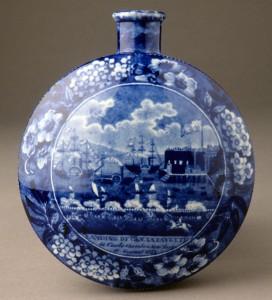Pearlware Lafayette flask, 1958.1856