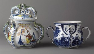 Delft posset pots, 1958.2381, 1959.1875