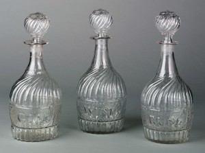 Gin, wine, rum decanter, 1959.2206, .3304., .3303