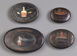 Tobacco boxes, 1957.1567, .1569, .1801, .1803