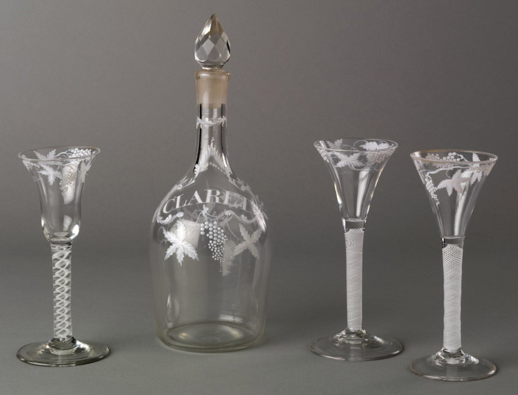 Decanter and wineglasses, 1975.44.2, .42, .43.1-.2