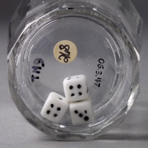 Glass tumbler with dice detail, 2006.3.47