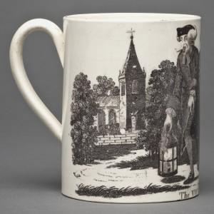 Creamware mug detail, 2011.18
