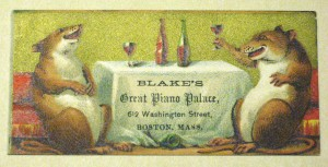 Piano merchant trade card, Col. 9 68x164.507