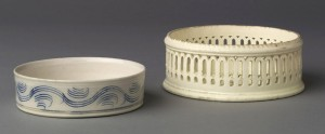 Creamware and stoneware coasters, 1958.933, 1980.121